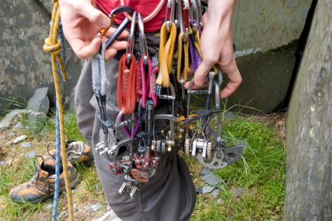 Racking up for Dinorwig Unconquerable - every cam we could get our mitts on!