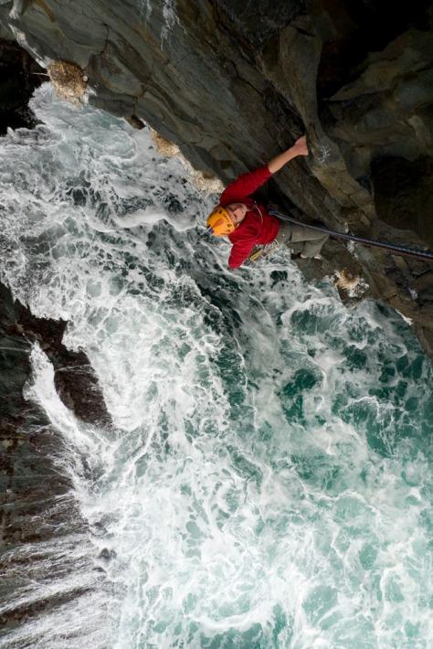 Pete Whittaker seconding on the Lleyn Peninsula