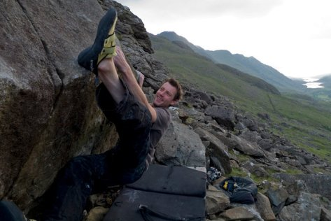 A big smile on 'The Big Smile' (7C+) in North Wales.  Happy times!
