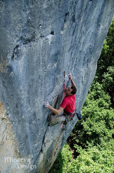 Me on the Arve Valley test-piece 'Docteur, j'ai peur' at Pierre a Laya. This 7c route was first climbed by Patrick Edlinger and Didier Raboutou and is desperate. In this photo I ma trying it last year (not successful) but a quick trip back there this spring saw it dispatched with relative ease. (Believe me, this would be 8a+ in Spain!). Photo by Chris Prescott / Minerva Design.